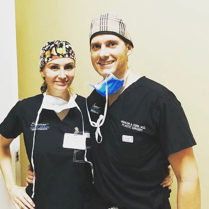Dr. Mahlon Kerr and his wife Ashley volunteering with Austin Smiles